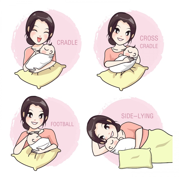 Cómo llevar a un bebé por una madre Vector Premium