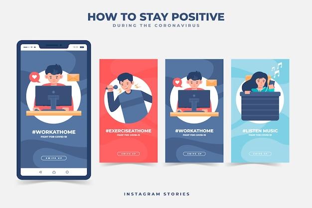 Cómo mantenerse positivo durante las historias de instagram de coronavirus Vector Premium