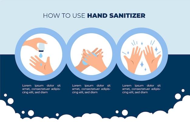 Cómo usar desinfectante de manos infografía Vector Premium