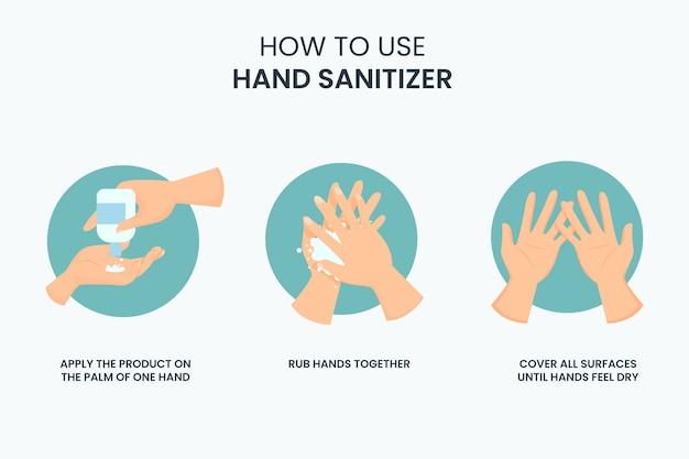 Cómo usar desinfectante de manos infografía vector gratuito