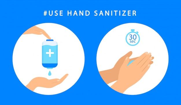 Cómo usar desinfectante para manos. instrucciones paso a paso antiséptico. antibacteriano estilo plano Vector Premium