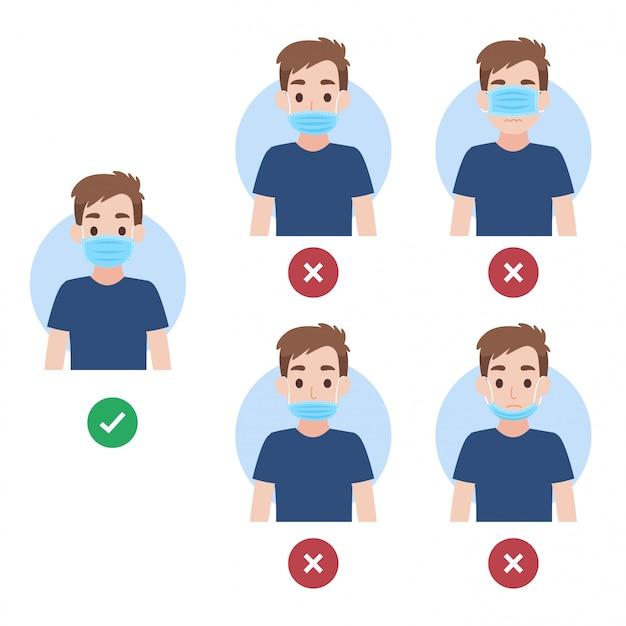 Cómo usar una máscara facial correcta e incorrecta, las personas que usan una máscara quirúrgica para prevenir el virus corona Vector Premium