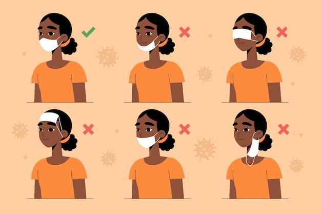 Cómo usar una mascarilla (correcta e incorrecta) vector gratuito