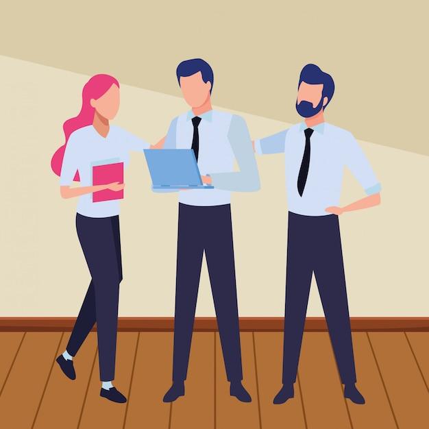 Compañeros de trabajo de negocios con suministros de oficina vector gratuito