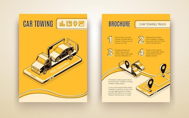 Compañía de remolque de automóviles, asistente de carretera, servicio de reparación de automóviles, vector isométrico, folleto publicitario o libro vector gratuito