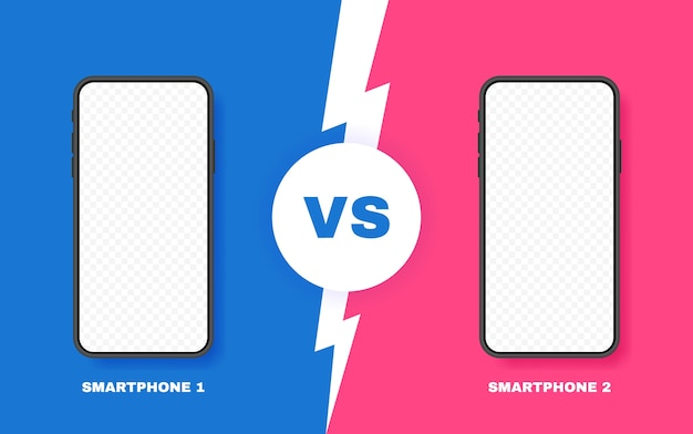 Comparación de dos teléfonos inteligentes diferentes. vs fondo con relámpago para comparar. ilustración. Vector Premium