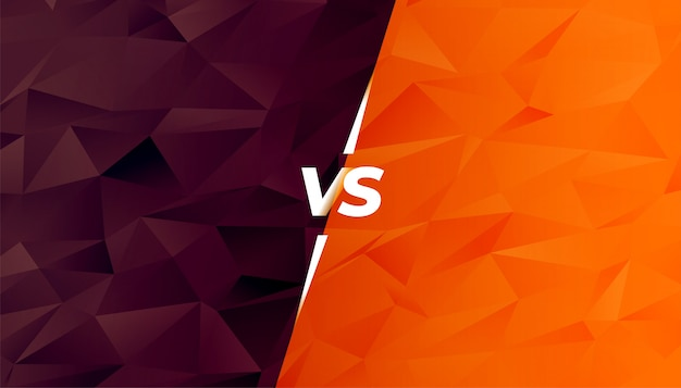Comparación o batalla versus pantalla en estilo low poly vector gratuito