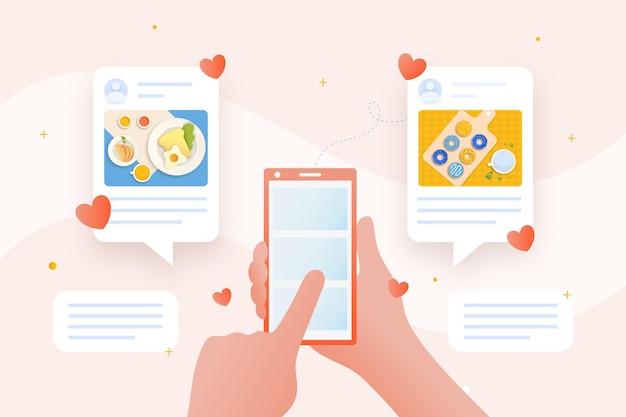 Compartir contenido en las redes sociales con un teléfono inteligente vector gratuito