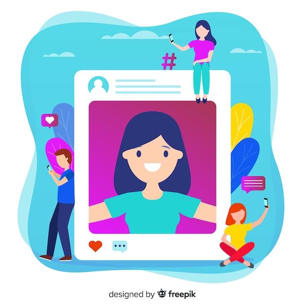Compartir selfies en las redes sociales vector gratuito