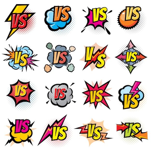 Competencia de batalla versus conjunto de logotipos vectoriales. vs rivales desafían emblemas y etiquetas. Vector Premium