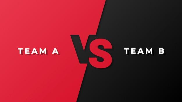 Competencia deportiva rojo y negro versus fondo Vector Premium