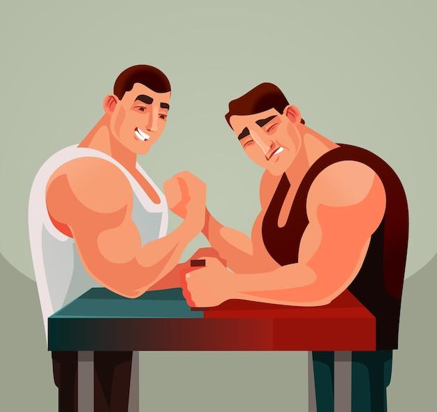 Competiciones juego de lucha de brazos, dos atletas hombres personajes compiten con armas de lucha libre. Vector Premium