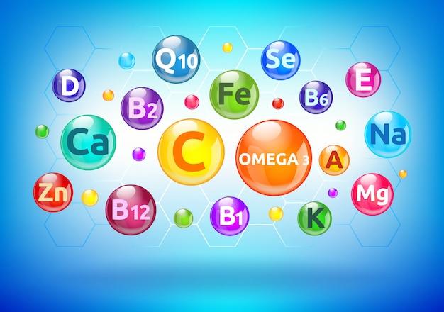Complejo de vitaminas y minerales, burbujas coloridas, bolas con letras Vector Premium