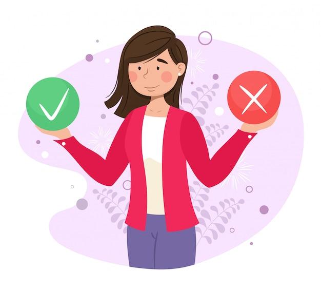 Completar la prueba en forma de una encuesta al cliente. ilustración para banner web, infografía, móvil. concepto de satisfacción e insatisfacción del cliente. ilustración. Vector Premium