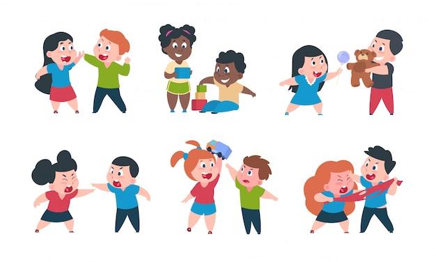 Comportamiento de los niños. dibujos animados hermano y hermana lucha cray play, lindo niño niña personajes felices. Vector Premium