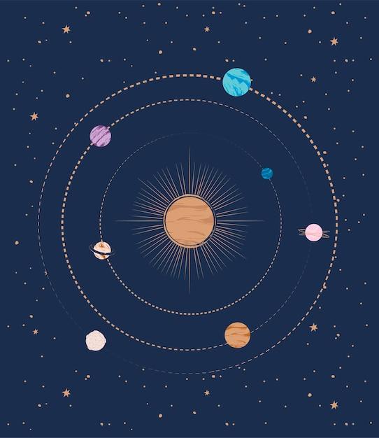 Composición abstracta con planetas y estrellas. Vector Premium