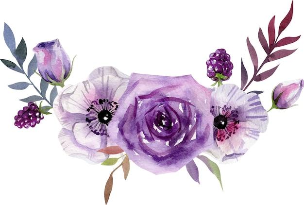 Composición de acuarela con flores blancas y púrpuras, hojas. Vector Premium