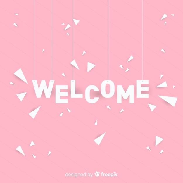Composición adorable de bienvenida con estilo de origami Vector Premium