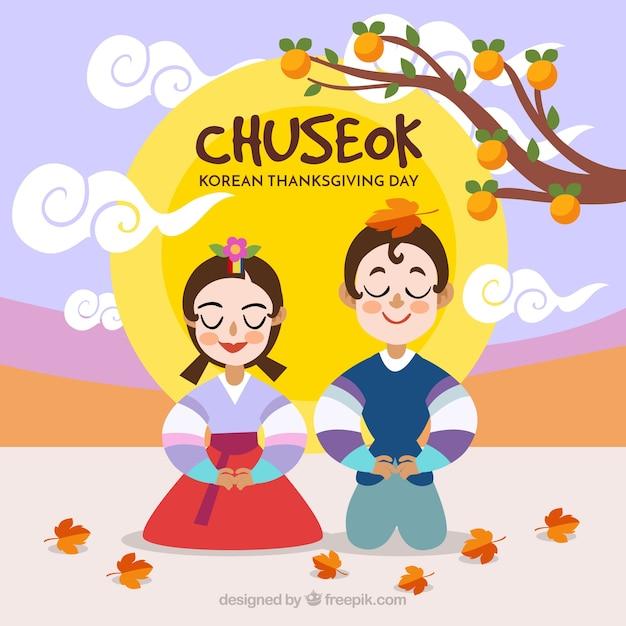 Composición adorable de chuseok con diseño plano vector gratuito