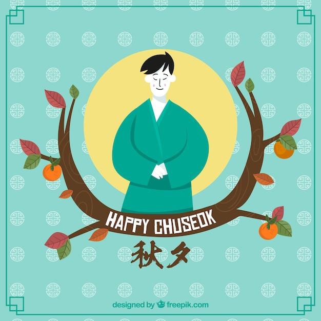 Composición adorable de chuseok con estilo de dibujo a mano vector gratuito