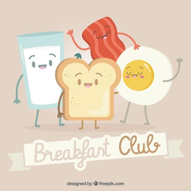 Composición adorable de desayuno vector gratuito
