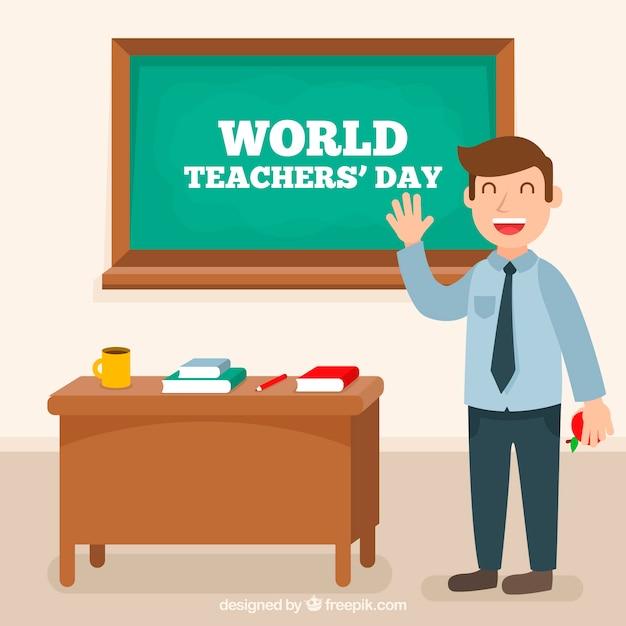 Composición adorable del día mundial de los profesores con diseño plano vector gratuito