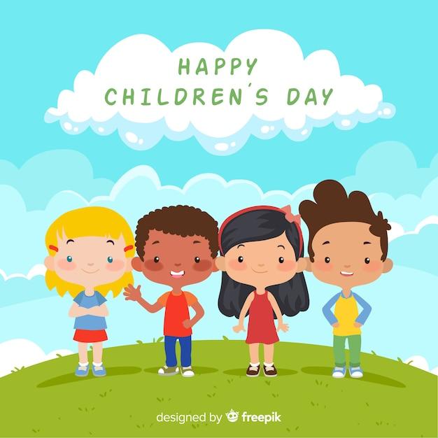 Composición adorable del día de los niños con diseño plano vector gratuito