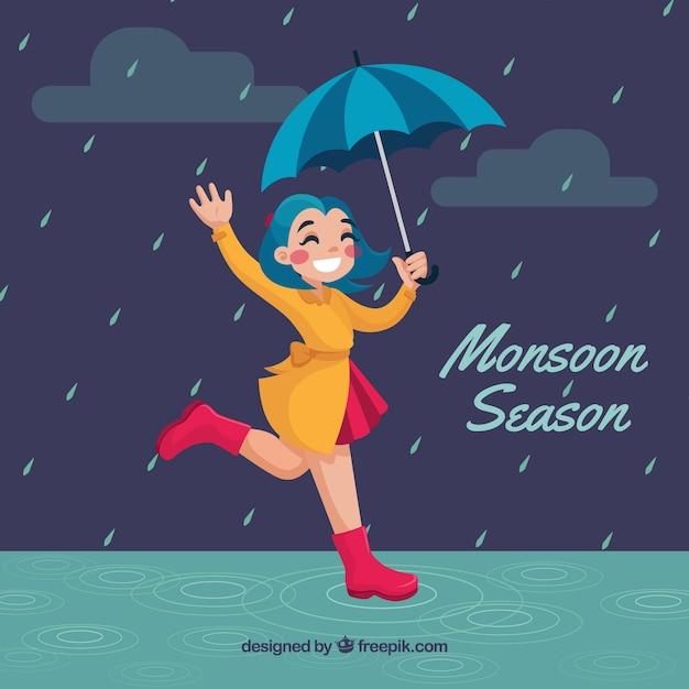 Composición adorable de la época del monzón con diseño plano vector gratuito