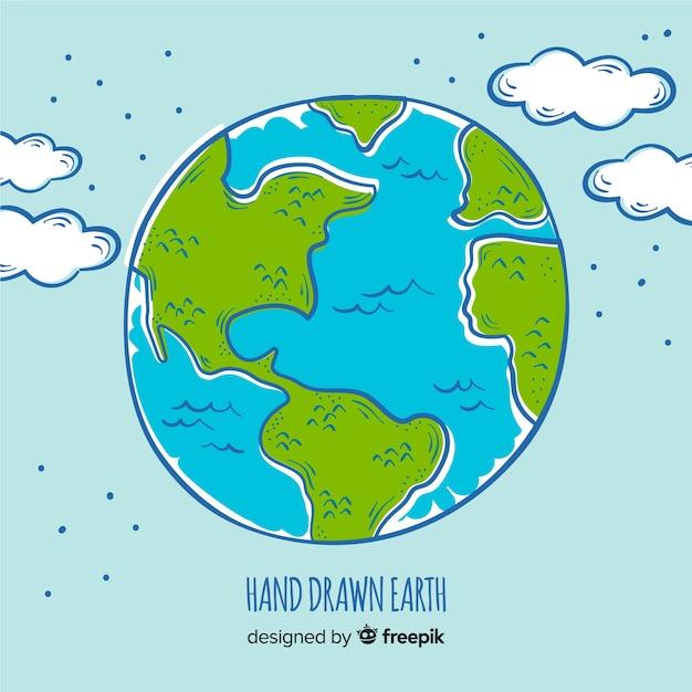 Composición adorable del planeta tierra dibujada a mano vector gratuito