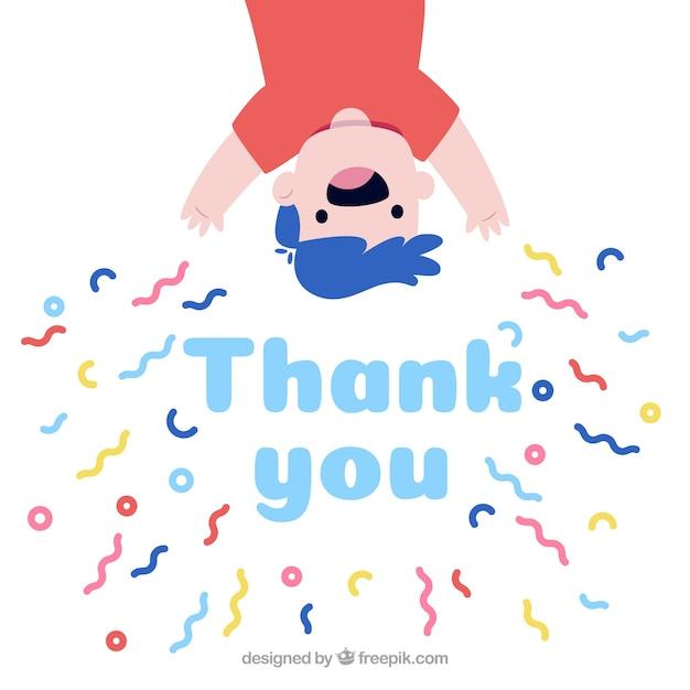 Composición de agradecimiento dibujada a mano con confeti vector gratuito