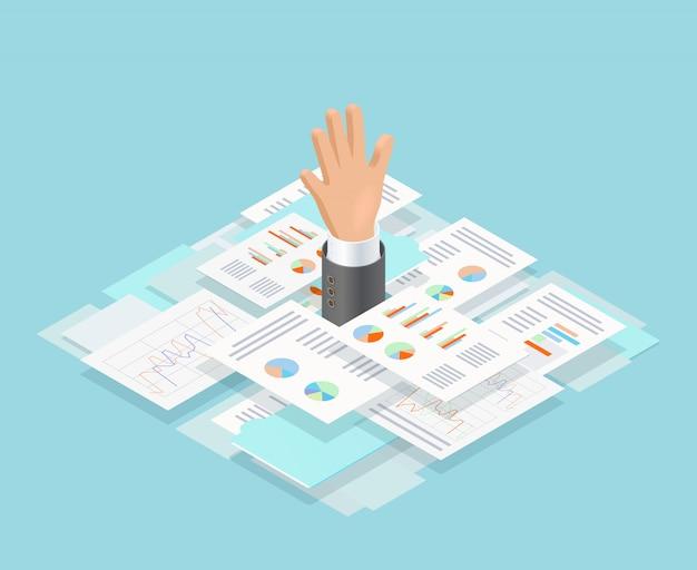 Composición de ahogamiento de papel de oficina vector gratuito