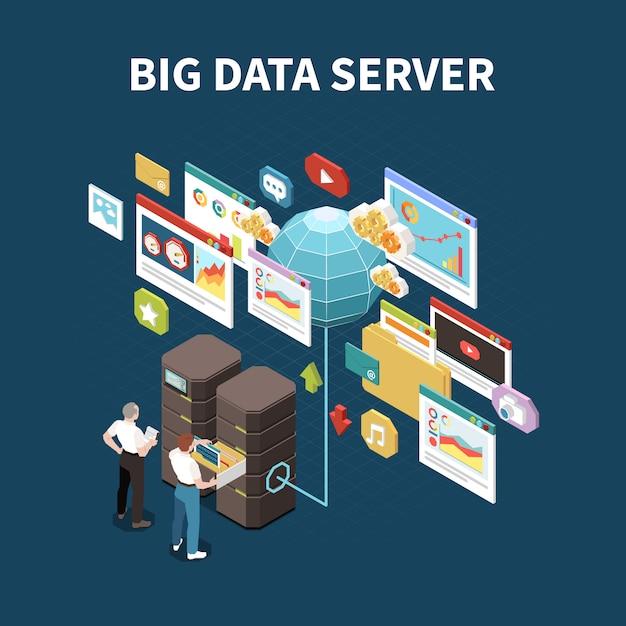 Composición aislada de big data analytics con título de servidor de datos de excavación y elementos de ilustración de almacenamiento en la nube vector gratuito