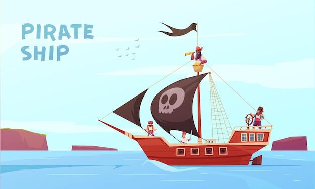 Composición al aire libre pirata con estilo de dibujos animados picaroon sea rover en el mar con texto editable vector gratuito