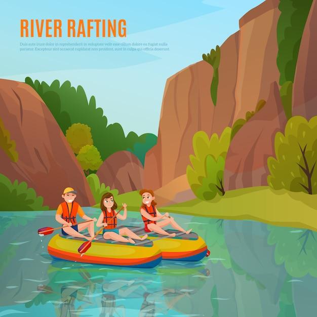 Composición al aire libre de rafting en el río vector gratuito