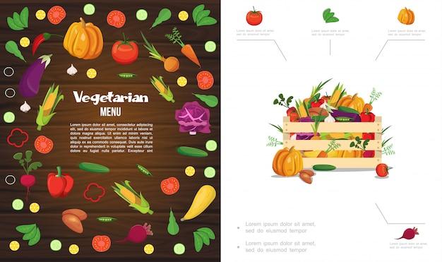 Composición de alimentos saludables eco plana con caja de madera de calabaza maíz tomate pepino zanahoria remolacha ajo repollo patata pimienta guisantes vector gratuito