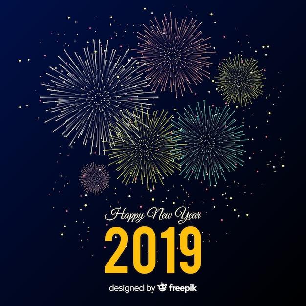Composicion De Ano Nuevo 2019 Con Fuegos Artificiales Descargar