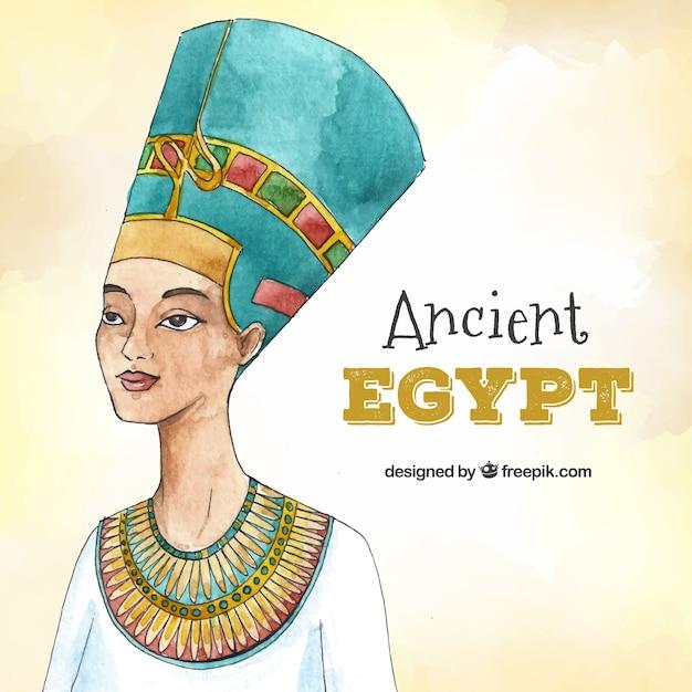 Composición del antiguo egipto en acuarela vector gratuito