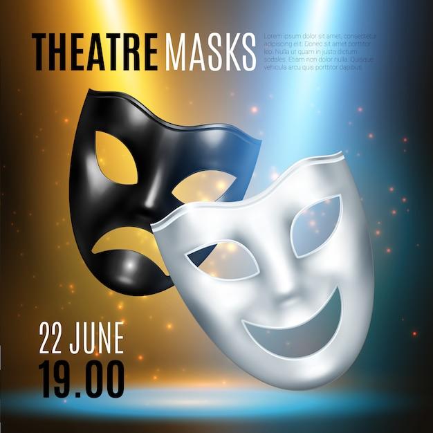 Composición de anuncio de máscaras teatrales vector gratuito