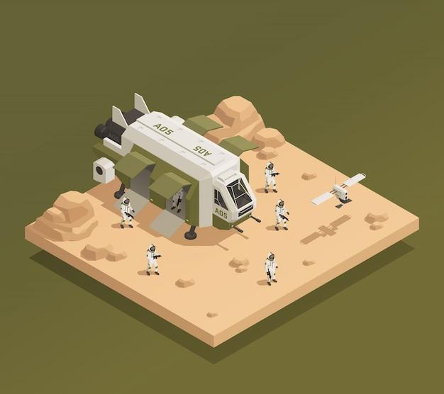 Composición de aterrizaje de naves espaciales vector gratuito