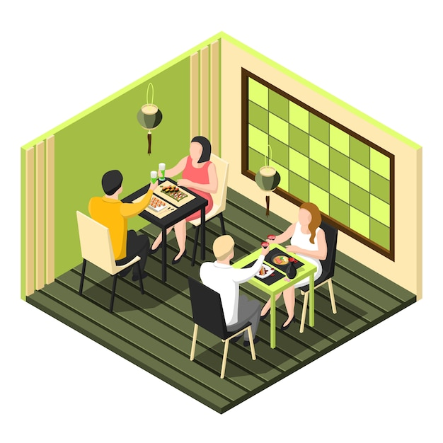 Composición de barra de sushi vector gratuito