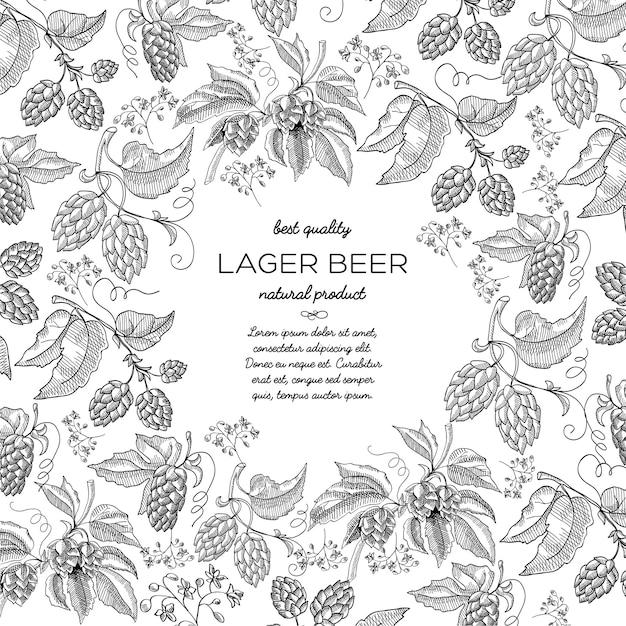 Composición de boceto de marco redondo de cerveza lager con hermosas flores vector gratuito