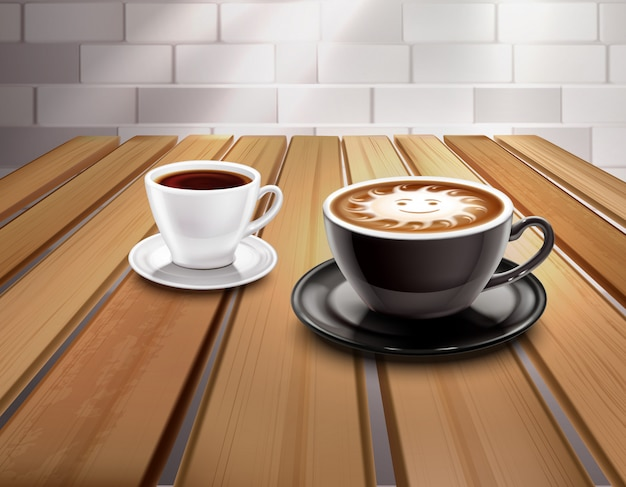 Composición de café expreso y capuchino vector gratuito