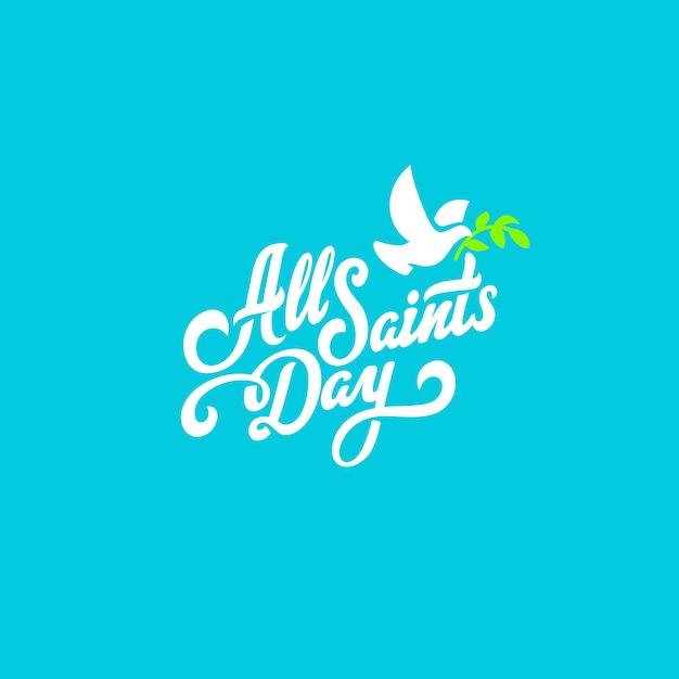 Composición caligráfica de letras de texto del día de todos los santos vector gratuito