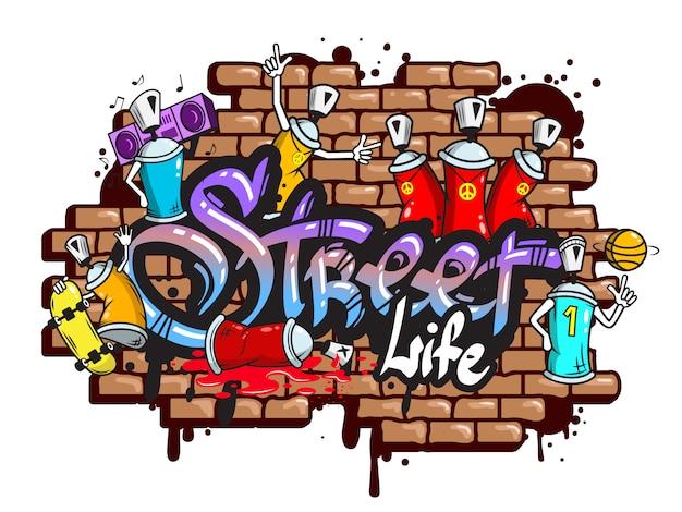 Composición de los caracteres de la palabra graffiti. vector gratuito