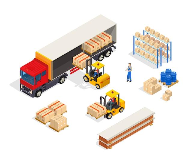 Composición de carga vehicular de almacén vector gratuito