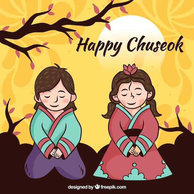 Composición de chuseok moderna con estilo adorable vector gratuito