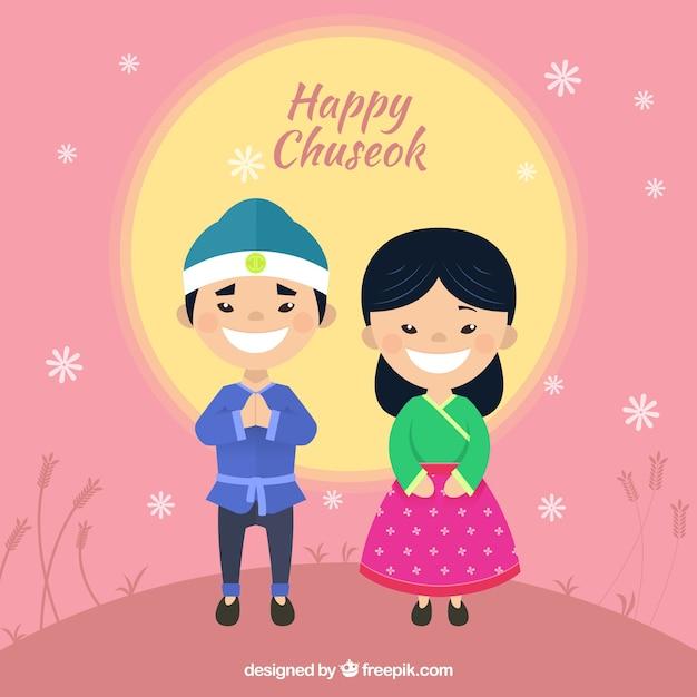 Composición de chuseok con pareja feliz vector gratuito