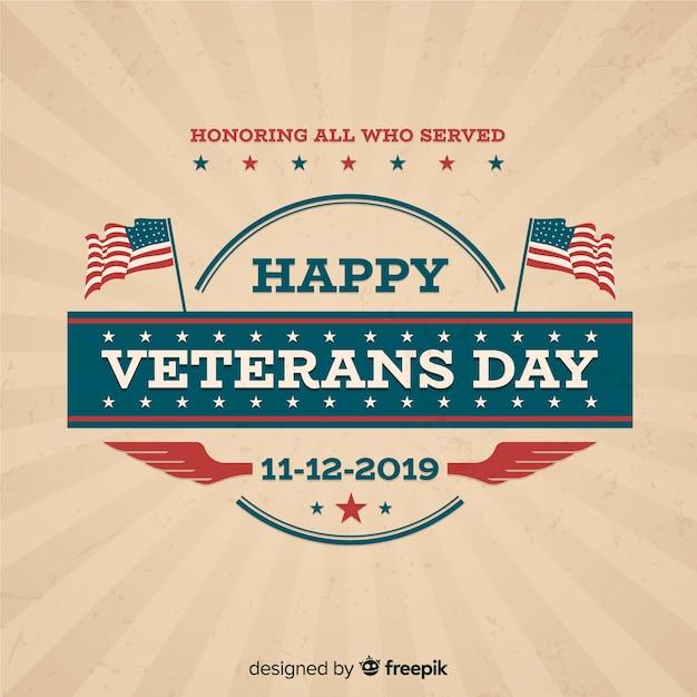Composición clásica del día de los veteranos con diseño vintage vector gratuito