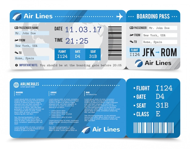 Composición en color de la tarjeta de embarque realista con información sobre el pasajero en la parte delantera y trasera. vector gratuito
