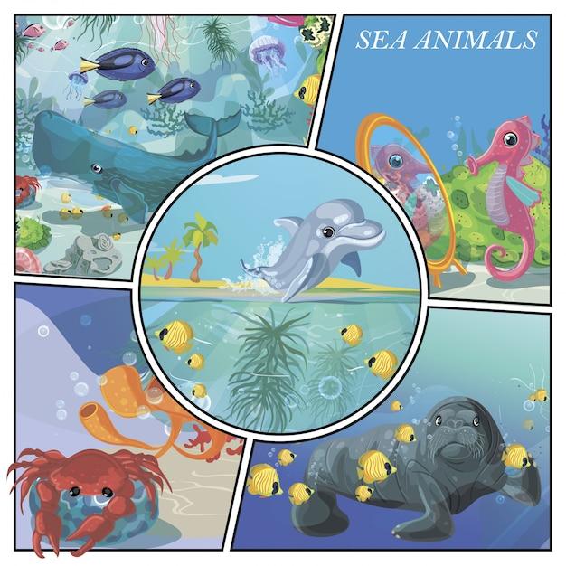 Composición colorida de animales marinos de dibujos animados con delfines peces caballito de mar ballena cangrejo foca medusas corales y algas marinas vector gratuito